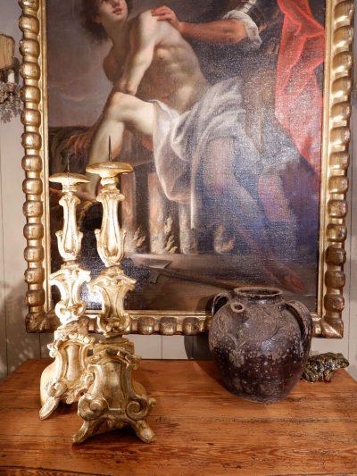 Paire de grands pique cierges Italiens- feuille d'argent XVIIIe
