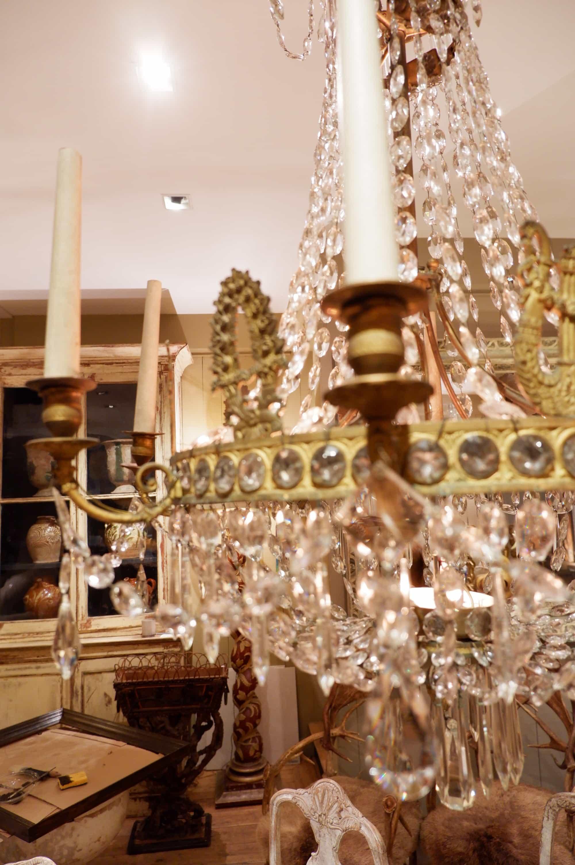 Lustre période Empire en bronze doré et cristal XIXe