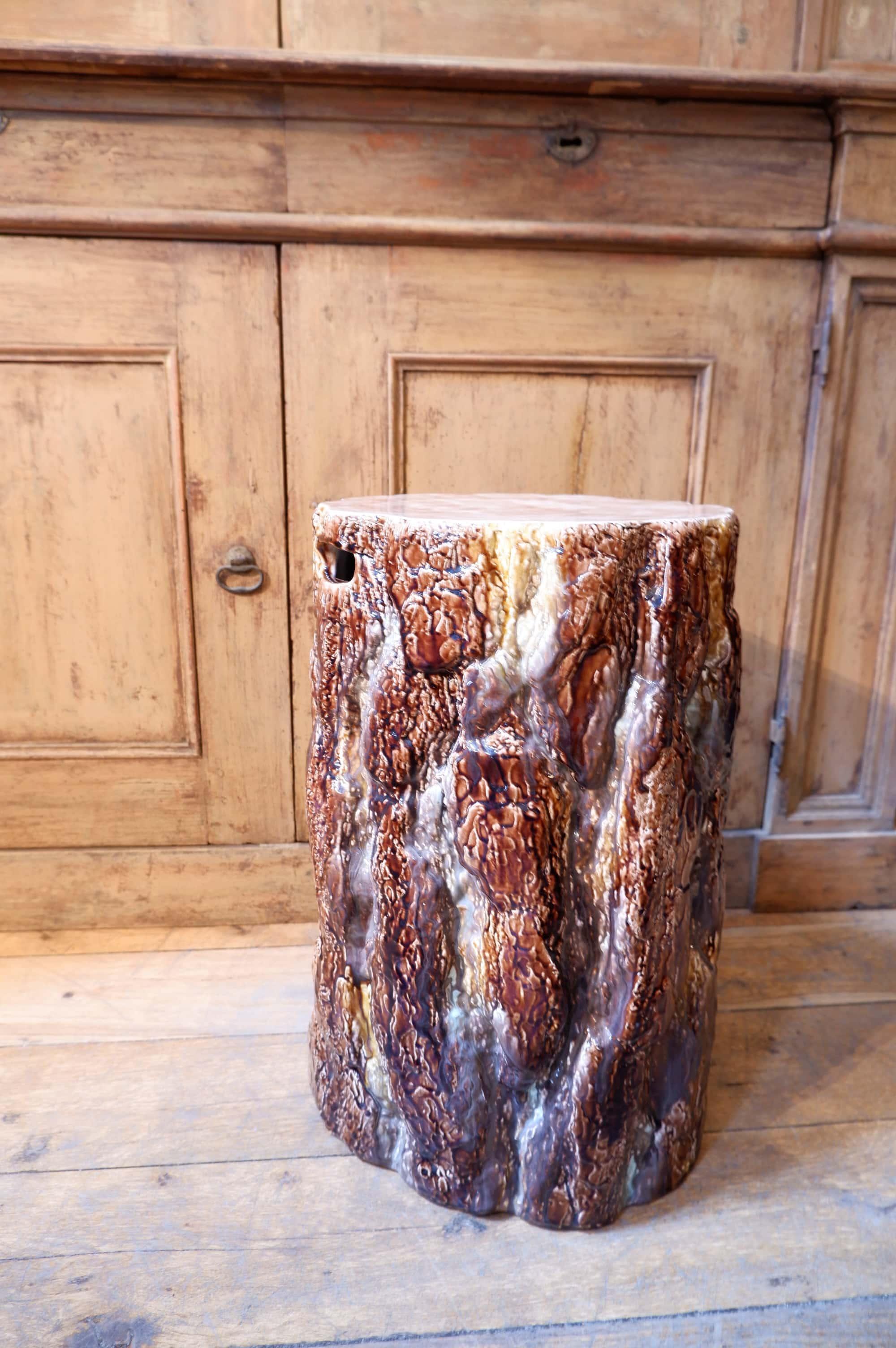 Tabouret tronc en céramique émaillée de Rostrand ca.1960