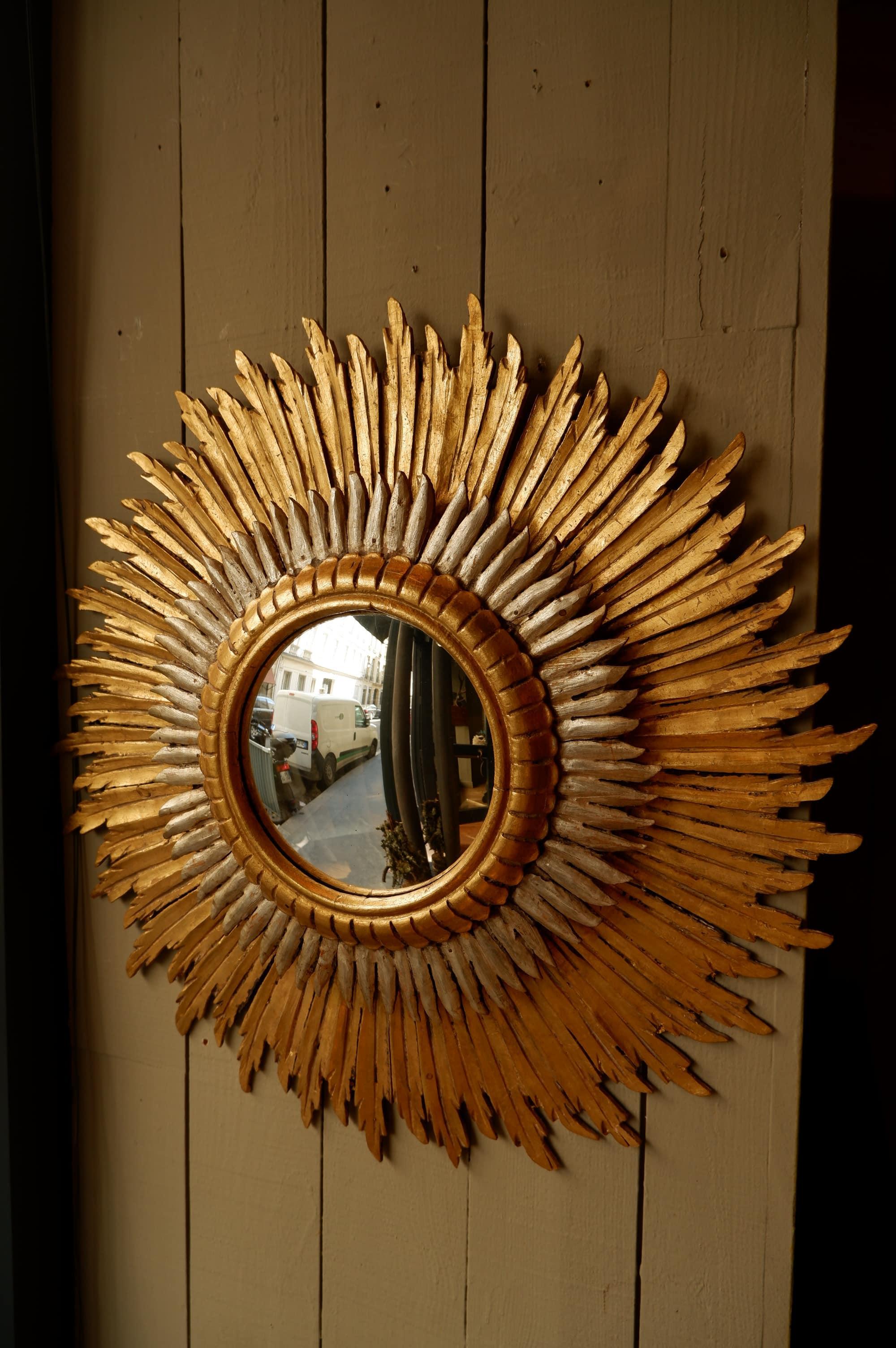 Miroir soleil patine or et argent ca.1900