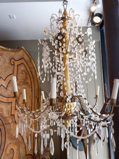 Large Genoese chandelier gilded wood and glass XIXE