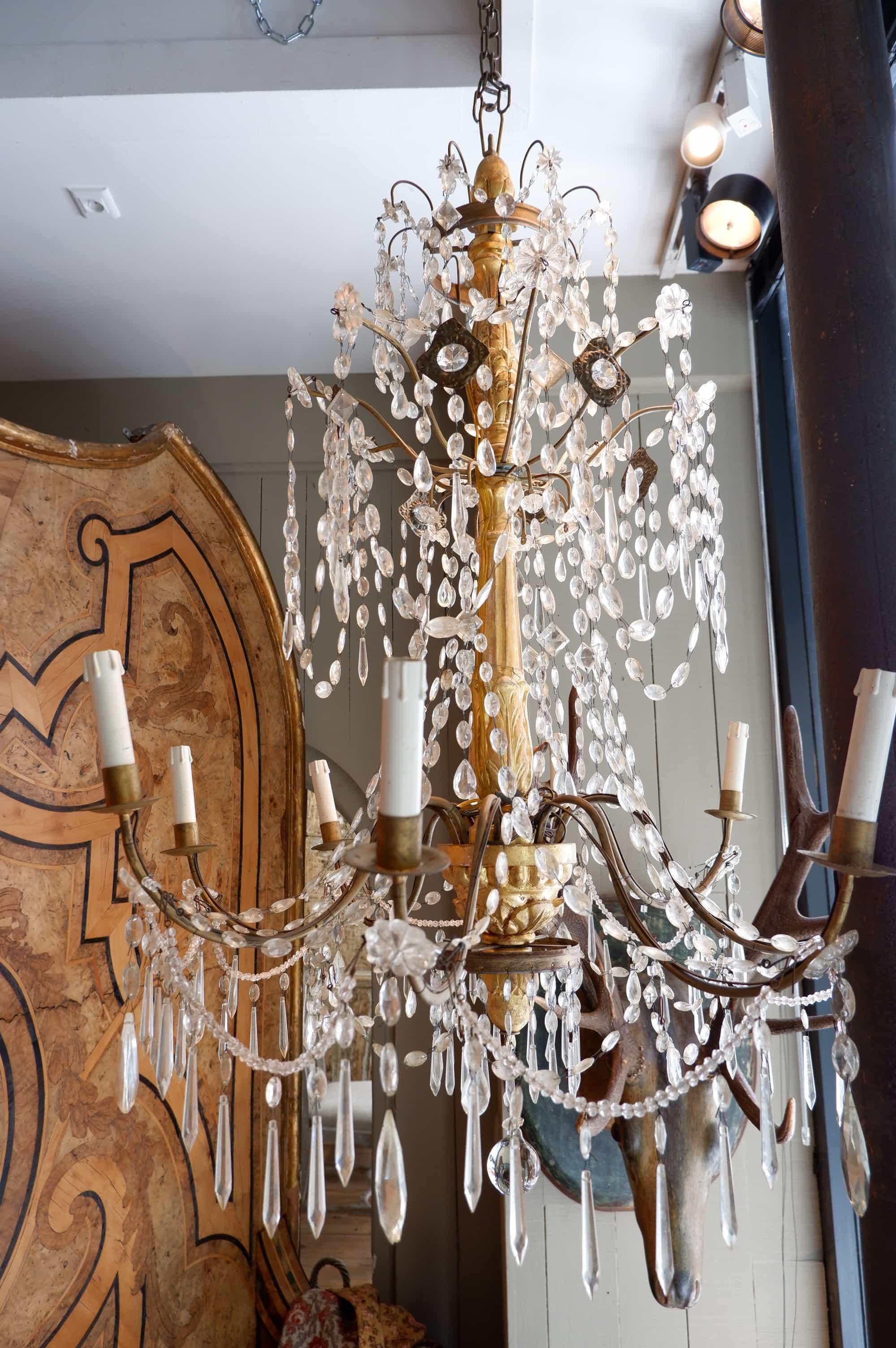 Grand lustre génois bois doré et verre XIXE