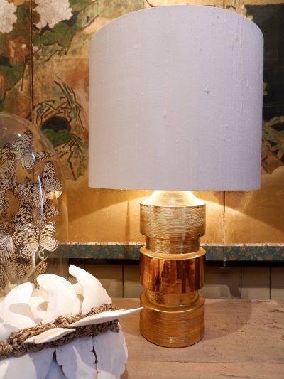 Pair of gold/copper glazed ceramic lamps ca.1960