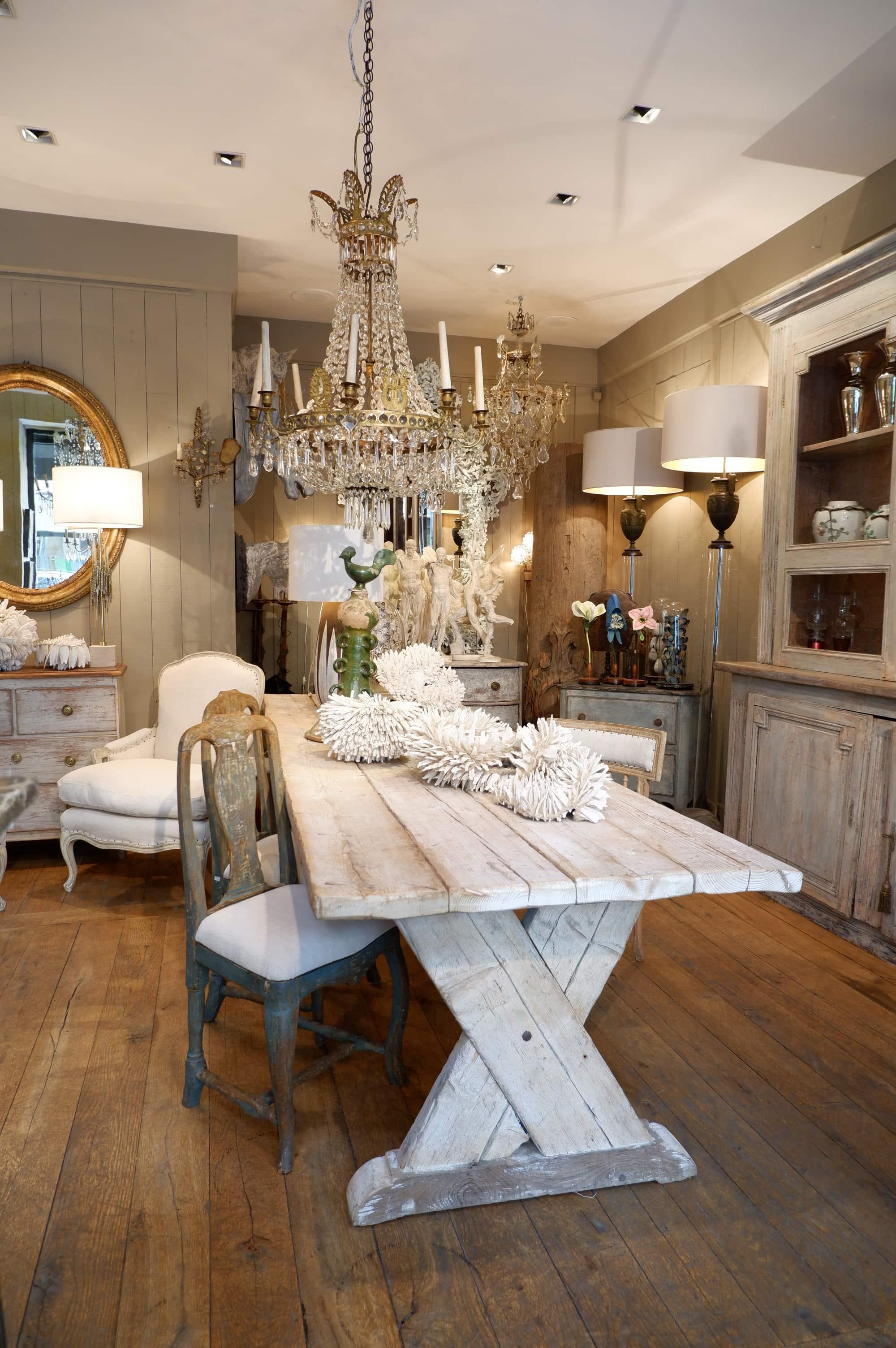 Grande table de ferme pied en X en sapin blanchi fin XIXe
