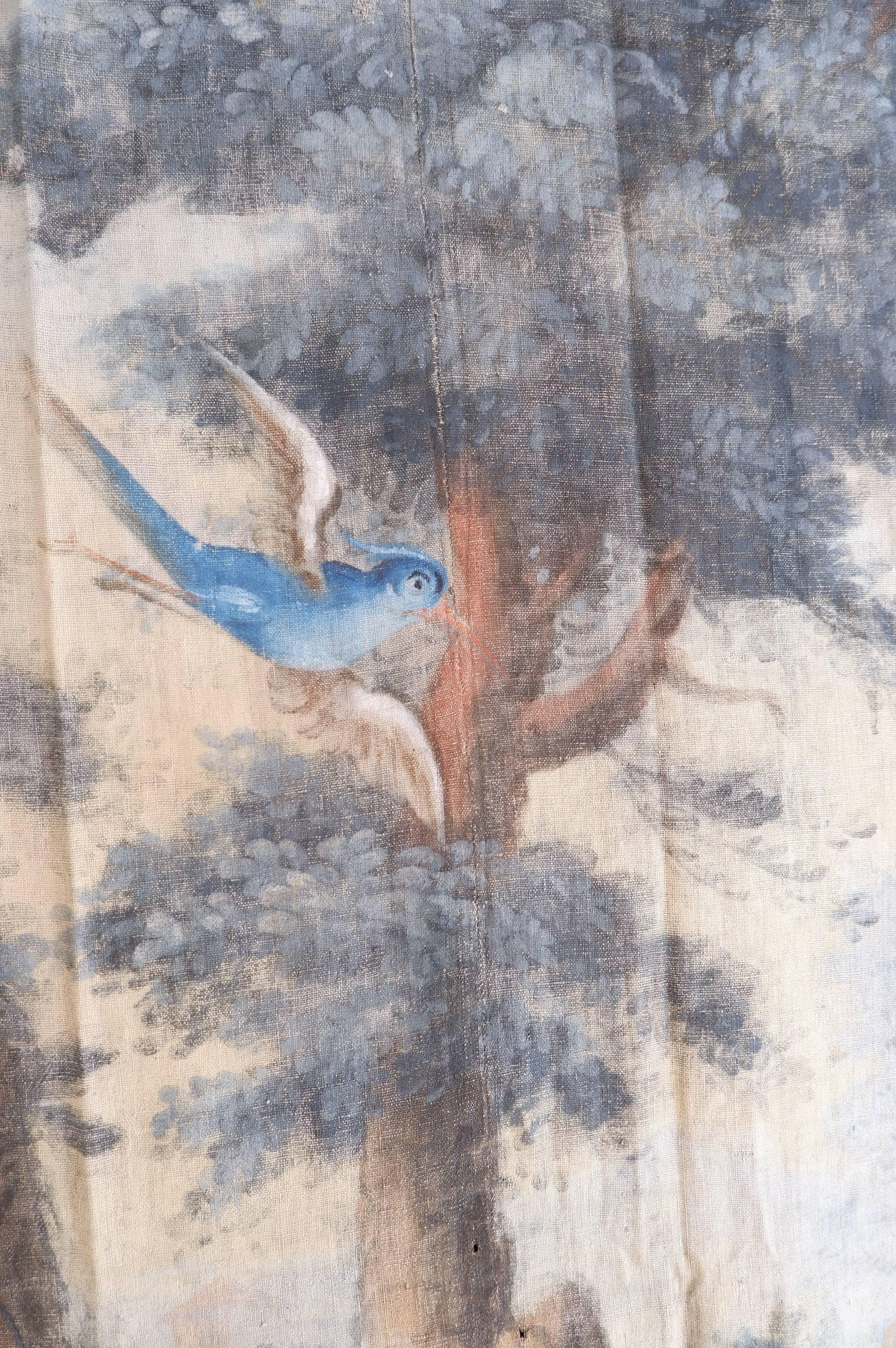 Toile peinte XVIIIe polychrome paysage de verdure et osieaux
