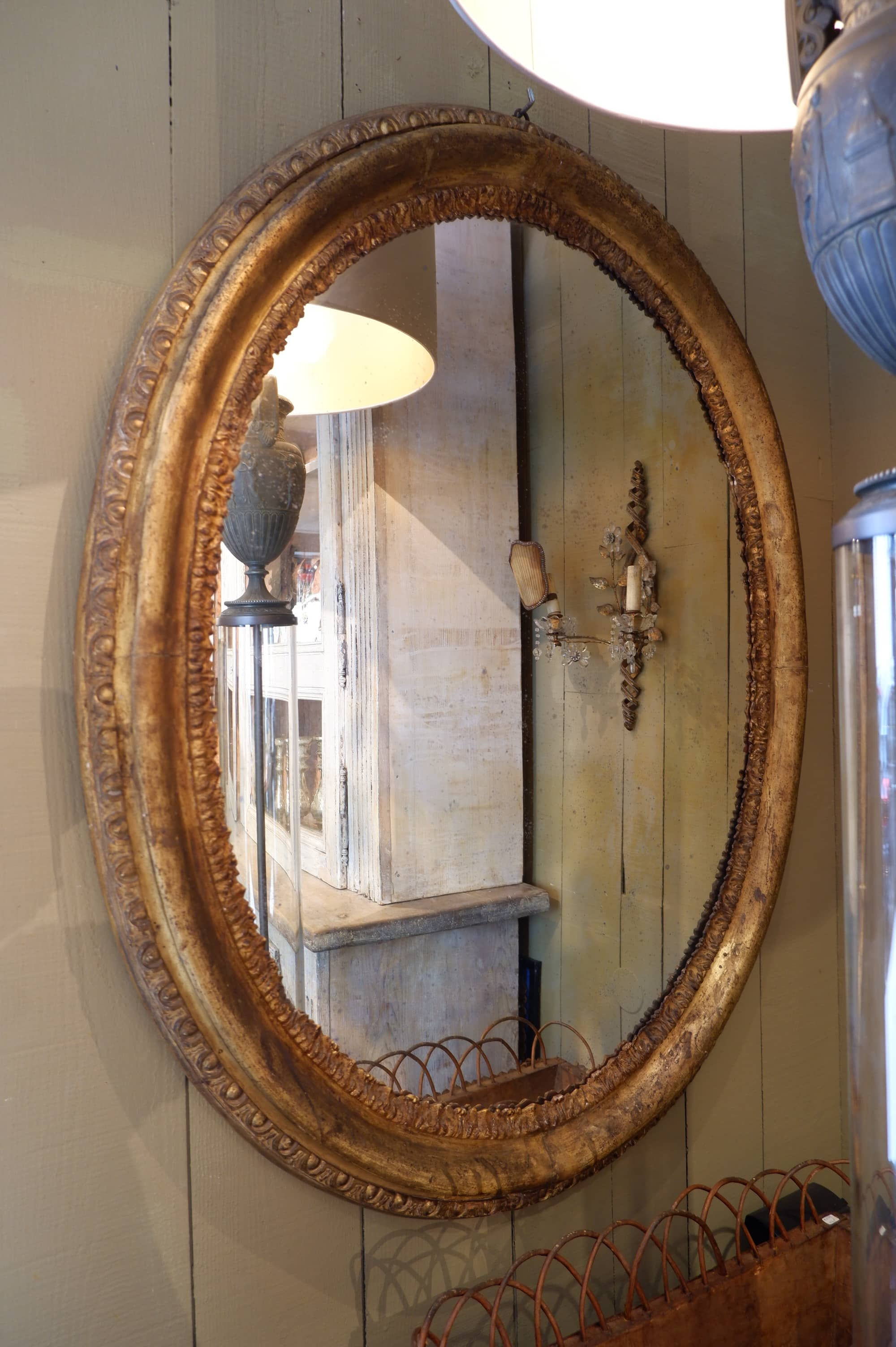 Very Large Oval Mirror With Gilded Wood Frame Middlexix Stephane Olivier Paris