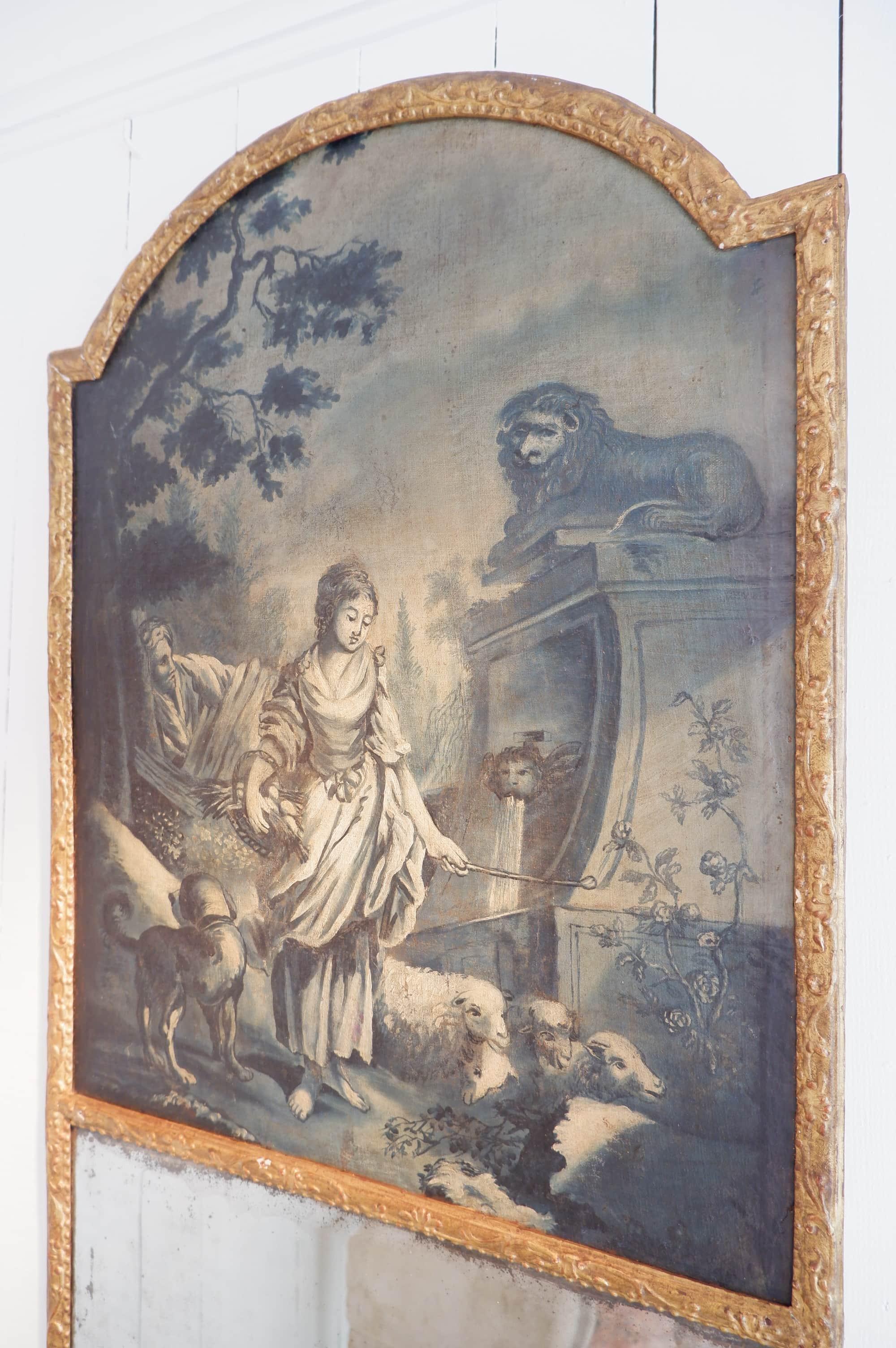 GRAND MIROIR TRUMEAU DECOR CHAMPETRE BLEUTE CA.1780