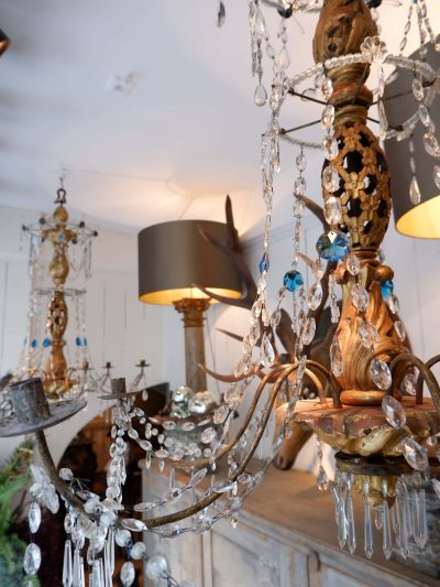 Pair of Genoese chandeliers with openwork wood center and blue & white crystal ca.1880