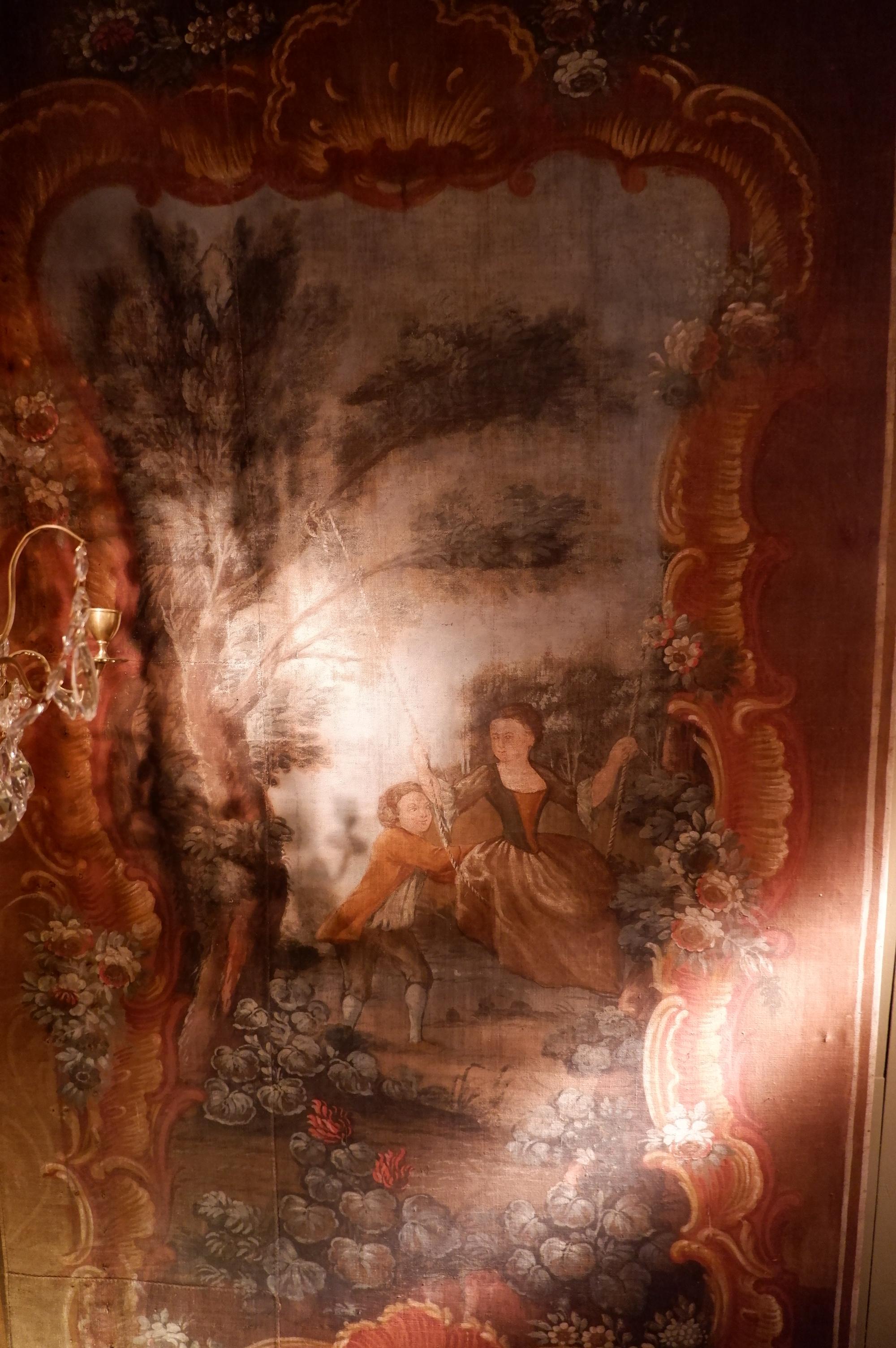 """Grande toile peinte """"couple sur une balançoire"""" d'époque XVIIIe"""