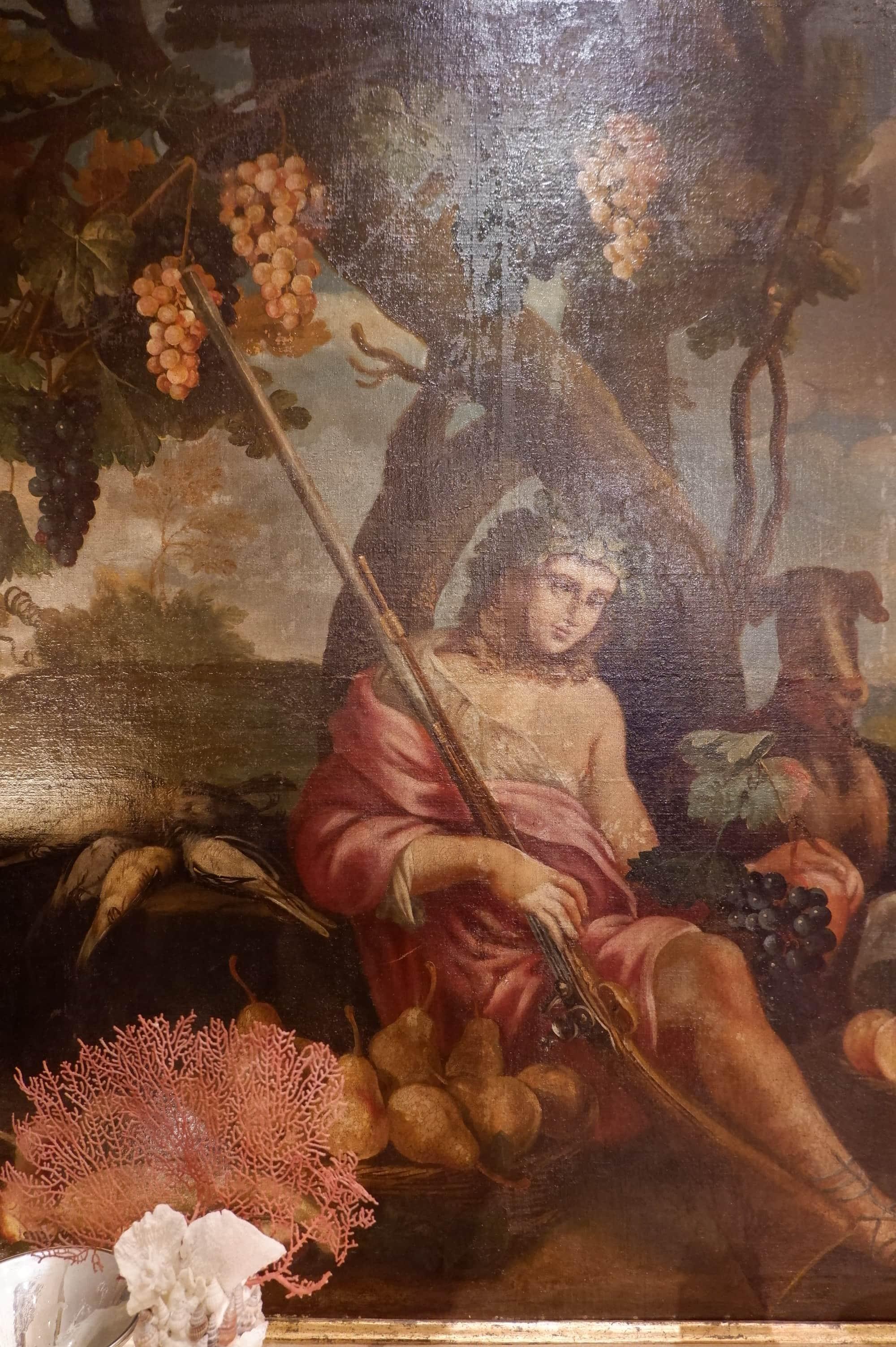 """Grand tableau nature d'époque XVIIIE """"Allégorie de la chasse"""""""