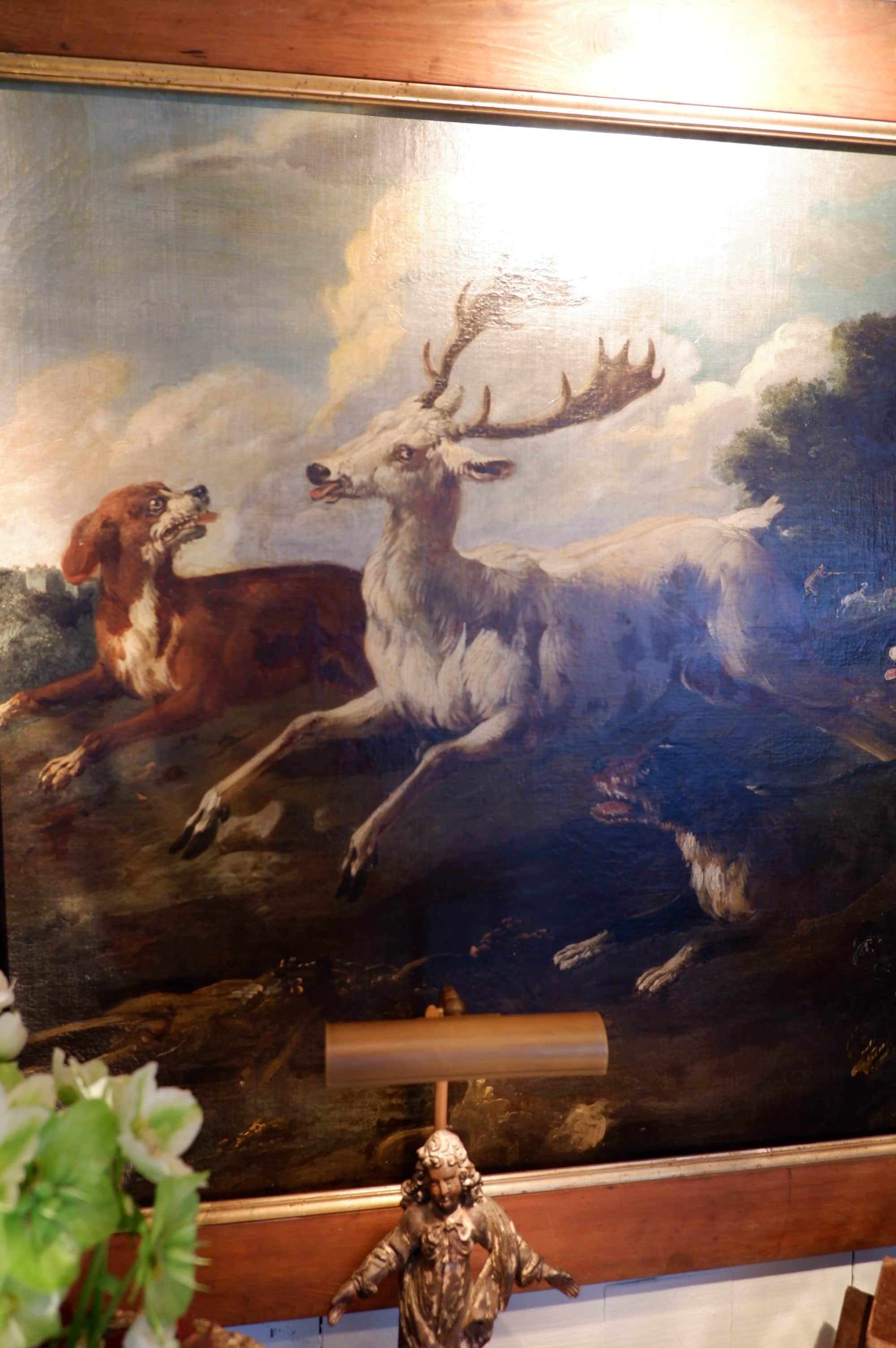 """Rare tableau de chasse  """"Grand cerf blanc & chiens"""" – France époque XVIIIE"""