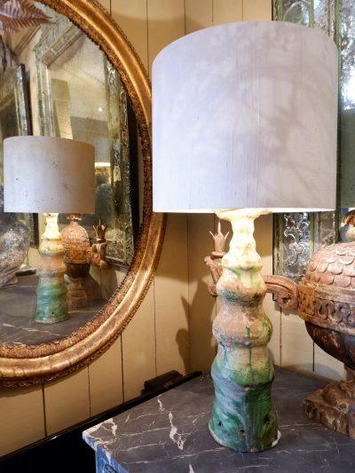 1 green varnished ceramic finial lamp + AJ/silk cylinder