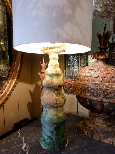 1lampe épi de faitage en céramique vernissée verte + AJ/cylindre en soie