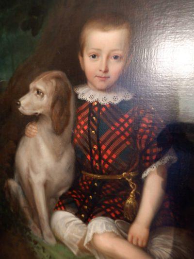 PORTRAIT D'ENFANT AU CHIEN PAR L BULOW CA.1851
