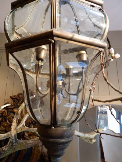 VERY LARGE COPPER VENETIAN LANTERN WITH BOMBED GLASSES