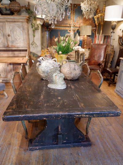GRANDE TABLE DE COMMUNAUTE EN BOIS NOIRCI CA.1880