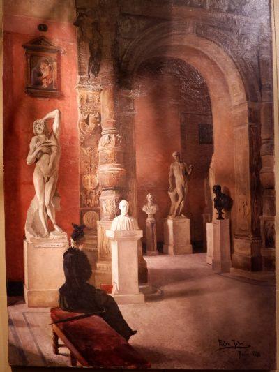 """Oil on canvas """"museum scene"""" by Ellen Jollin ca.1890"""