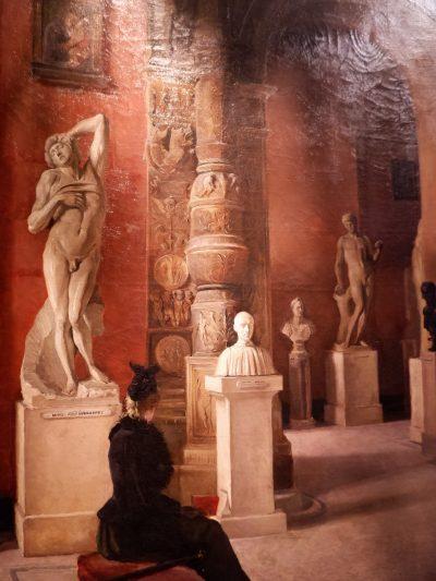 """Huile sur toile  """"scène de musée"""" par Ellen Jollin ca.1890"""