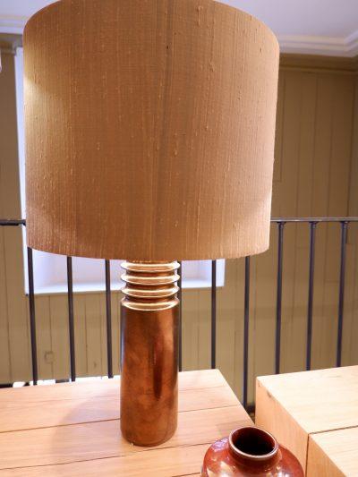 Lampe en céramique émaillée marron métalisé + AJ cylindre
