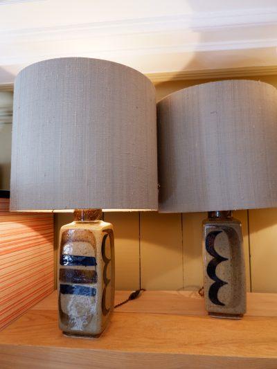 Paire de lampes en céramique par Carl Harry Stalhane pour Rostrand ca.1950 + aj soie