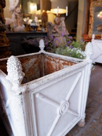 Paire de bacs à orangers en fonte décor pignes blanches