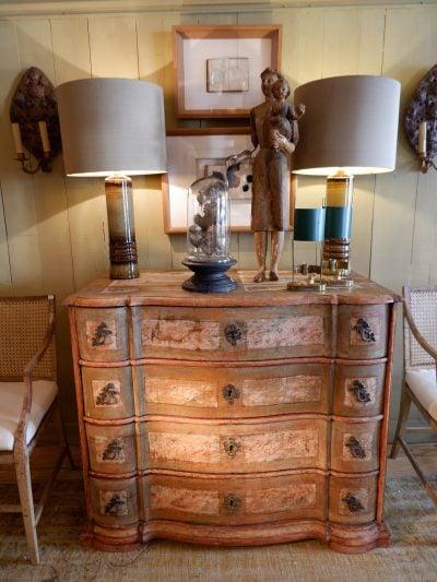 Commode à 4 tiroirs en bois peint patine verte & ivoire ca.1880