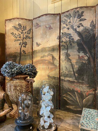 Paravent double face décor peint sur toile d'époque XVIIIe