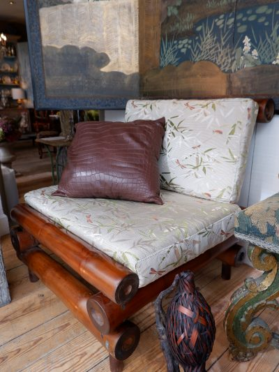 A pair of Bamboo armchairs ca.1960 upholstered with Dragonfly fabric by Rubelli