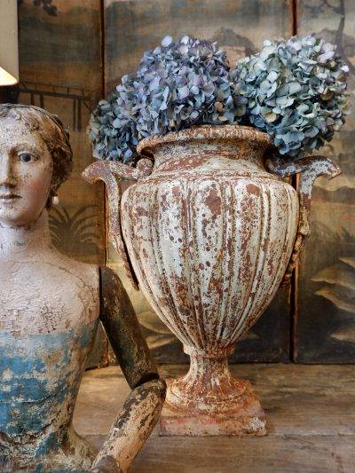 Pair of large white cast iron vases from the directoire period with handles ca.1790
