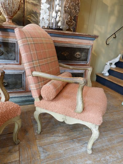 Pair of large Louis XV armchairs with almond green lacquer and Tweed / bouclette fabric