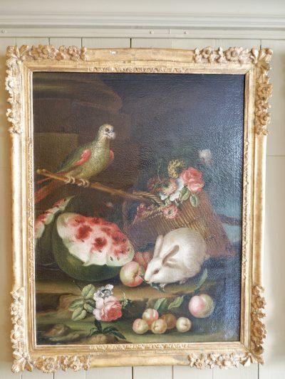 Paire de grandes scène nature-mortes Italiennes époque XVIIIe