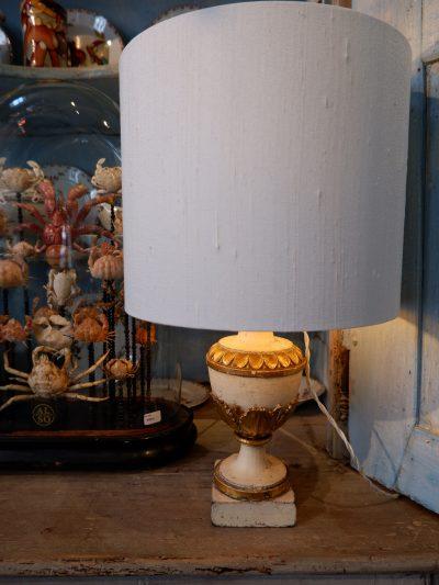 Paire de lampes pots à feu en bois ivoire & or + AJ soie