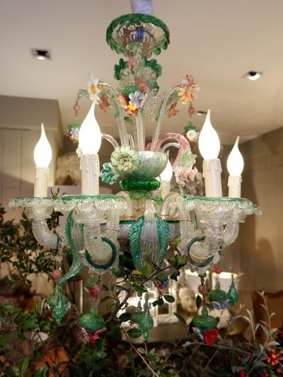 Lustre en verre de Murano multicolore Multifiori fin XIXe